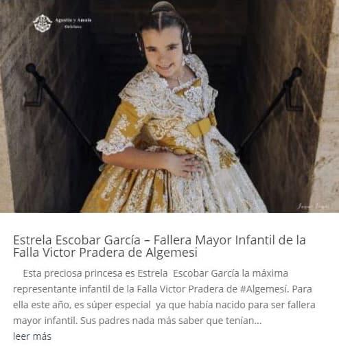 Estrela Escobar García – Fallera Mayor Infantil de la Falla Victor Pradera de Algemesi