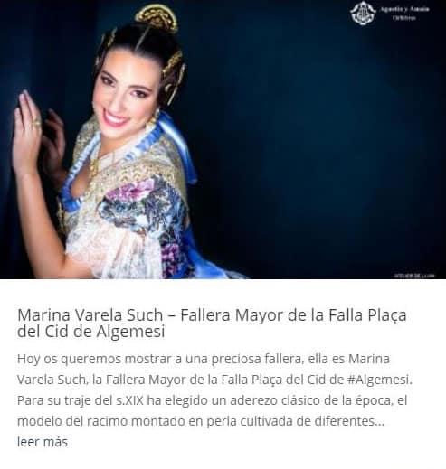 Marina Varela Such – Fallera Mayor de la Falla Plaça del Cid de Algemesi