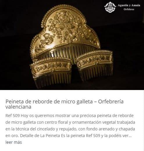 Peineta de reborde de micro galleta – Orfebrería valenciana