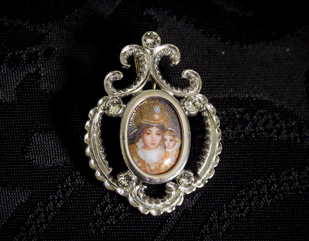 Colgante siglo XVIII esmalte ref. 3066 vd rodio