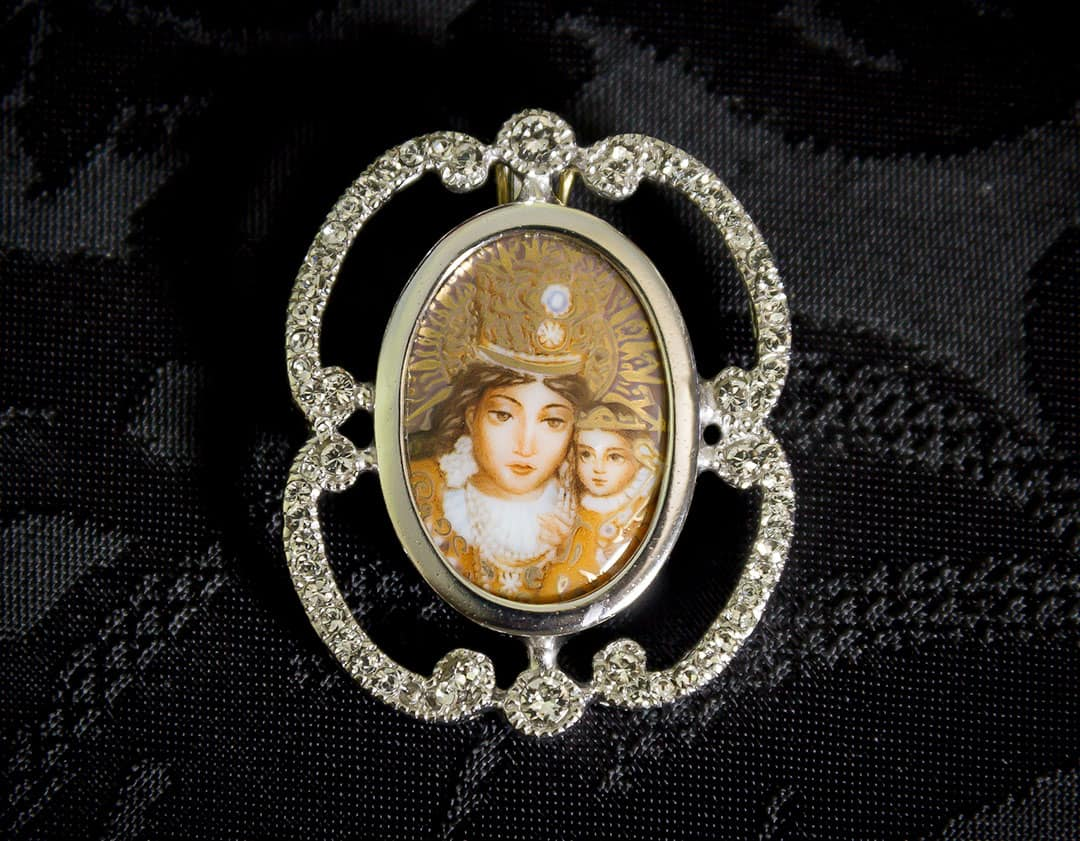Colgante siglo XVIII esmalte ref. 3070 vd rodio