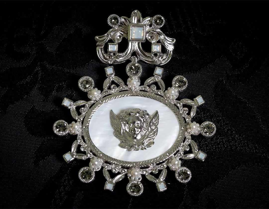 Colgante siglo XVIII medallón ref. 52 ángel rodio