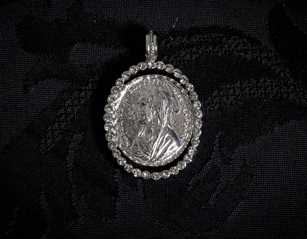 Medalla escapulario Virgen María y Jesús ref. 43 rodio