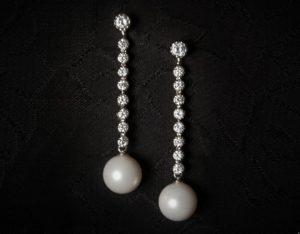 Pendientes plata de ley, circonitas y perla ref. ag710