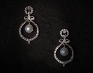 Pendientes plata de ley, circonitas y perla ref. ag712