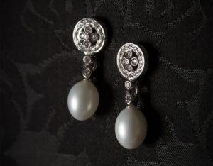 Pendientes plata de ley, circonitas y perla ref. ag716