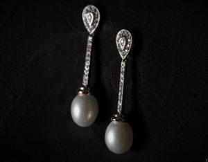 Pendientes plata de ley, circonitas y perla ref. ag717