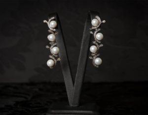 Pendientes plata de ley, circonitas y perla ref. ag719