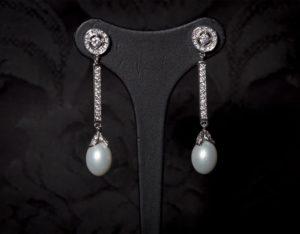 Pendientes plata de ley, circonitas y perla ref. ag73