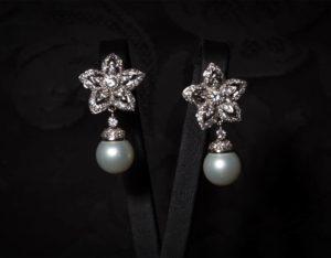 Pendientes plata de ley, circonitas y perla ref. ag75