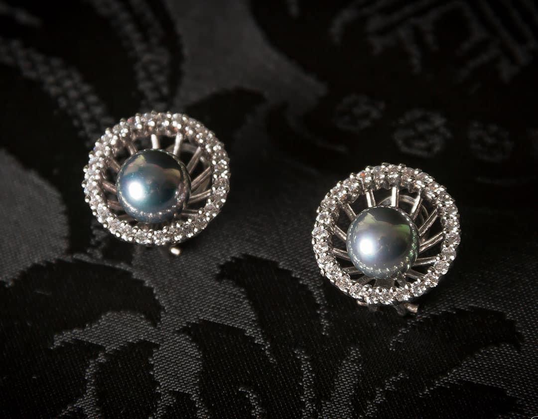 Pendientes plata de ley, circonitas y perla gris ref. ag76