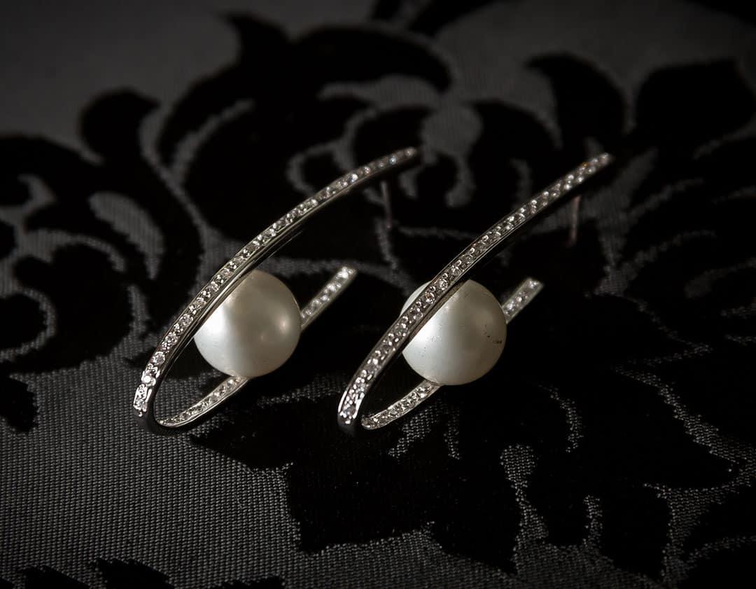 Pendientes plata de ley, circonitas y perla ref. ag79