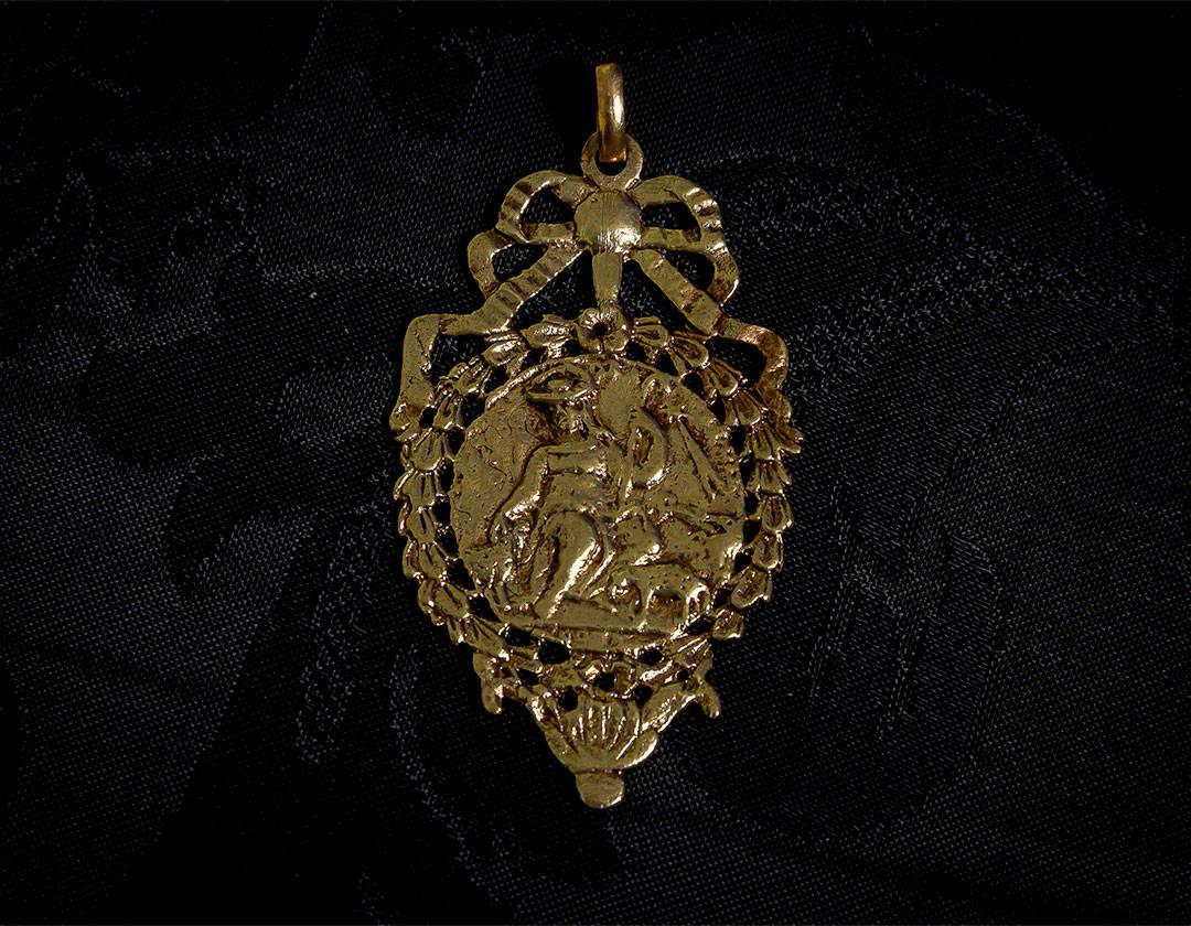 Escapulario Divina Pastora y Cristo crucificado ref. 61 bronce inglés
