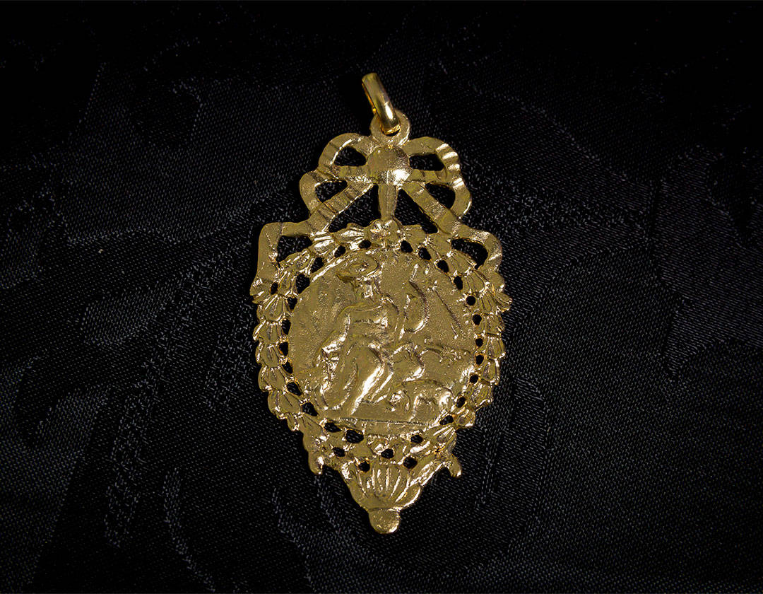 Escapulario Divina Pastora y Cristo crucificado ref. 61 oro