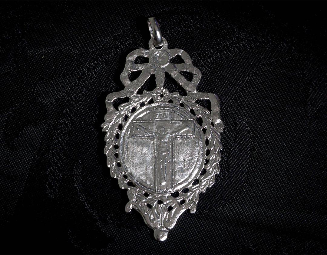 Escapulario Divina Pastora y Cristo crucificado ref. 61 rodio