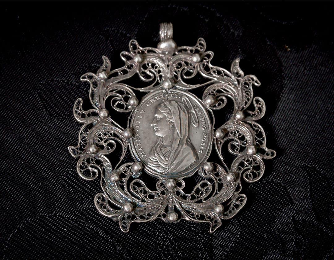Escapulario la Virgen María y Jesús ref. 66 plata
