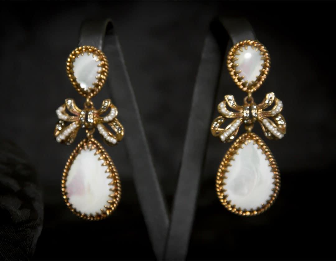 Pendientes de nácar, cristal y perla envejecidos ref. 2218