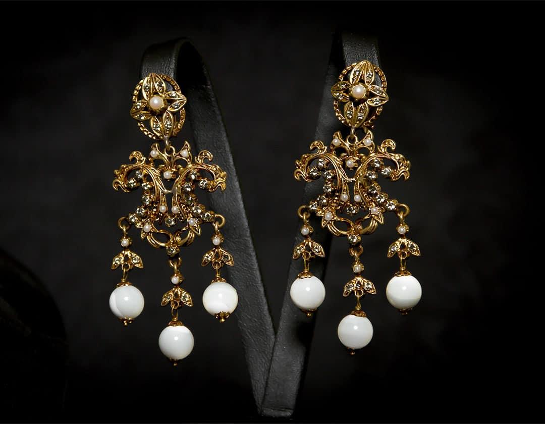 Pendientes de nácar, cristal y perla envejecidos ref. 2219
