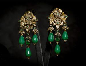 Pendientes de esmeralda y cristal envejecidos ref. 2224