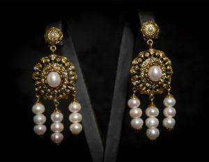 Pendientes de la polca en perla envejecidos ref. 2230