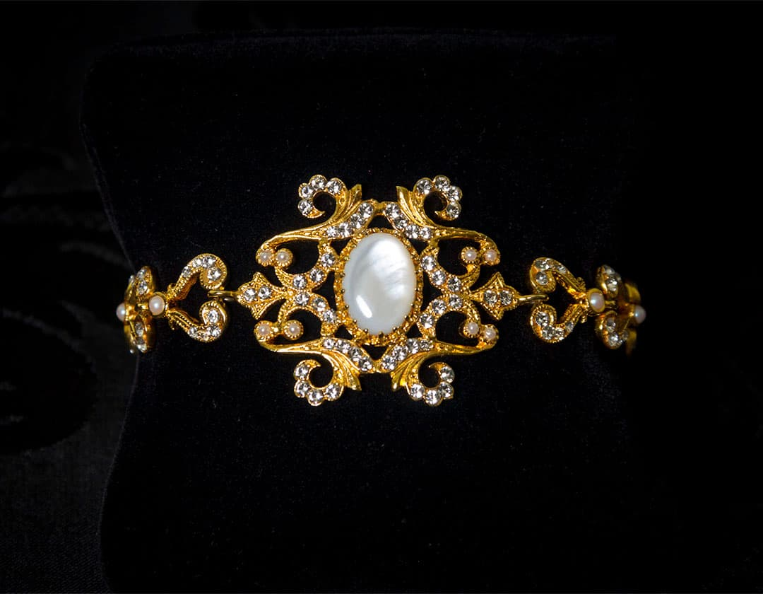 Pulsera de nácar, cristal y perla en oro ref. 814