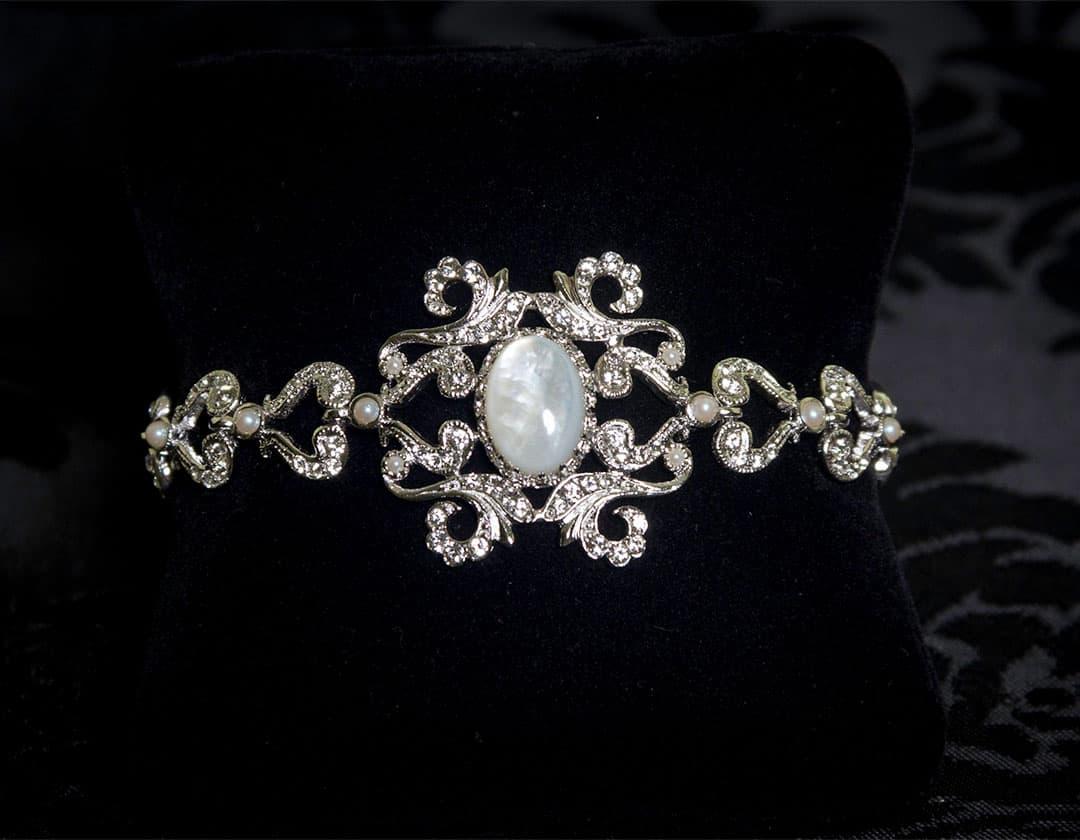 Pulsera de nácar, cristal y perla en rodio ref. 814