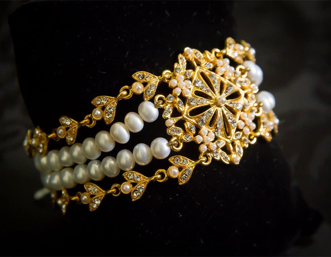 Pulsera de eslabones, perla y cristal en oro ref. 815