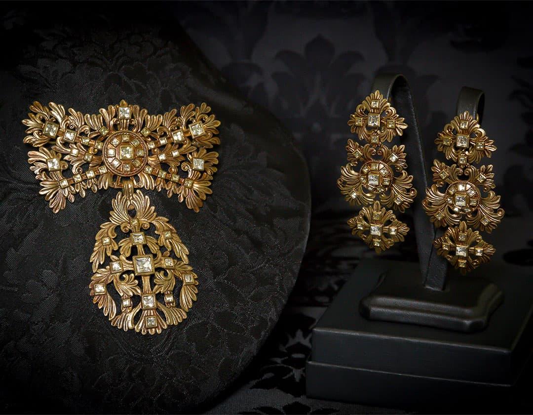 Pendientes y joia de cristal envejecidos ref. M-142