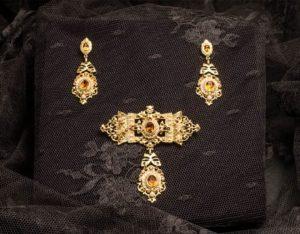 Pendientes y joia en topacio, perla y oro ref. la-m-43