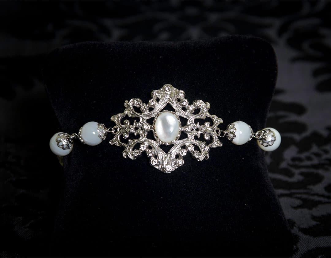Pulsera de nácar, cristal y perla en rodio ref. 813