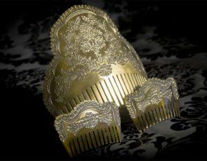 Peineta de Fallera reborde micro galleta al agua - Ref. 198 Bronce inglés