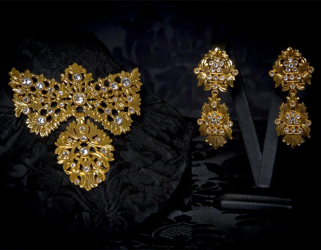 Pendientes y joia de a uno en cristal y oro ref. M-156