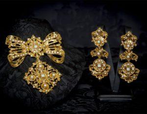 Pendientes y joia de a uno en cristal y oro ref. M-158
