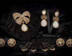 Aderezo del siglo XVIII modelo de a uno en nácar, perla, cristal y oro ref. m153