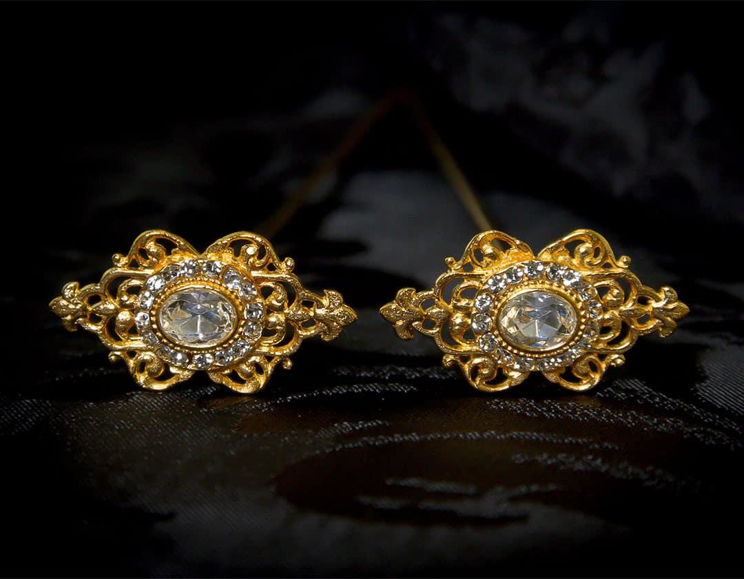 Aderezo del siglo XVIII modelo de a uno en cristal y oro ref. m46