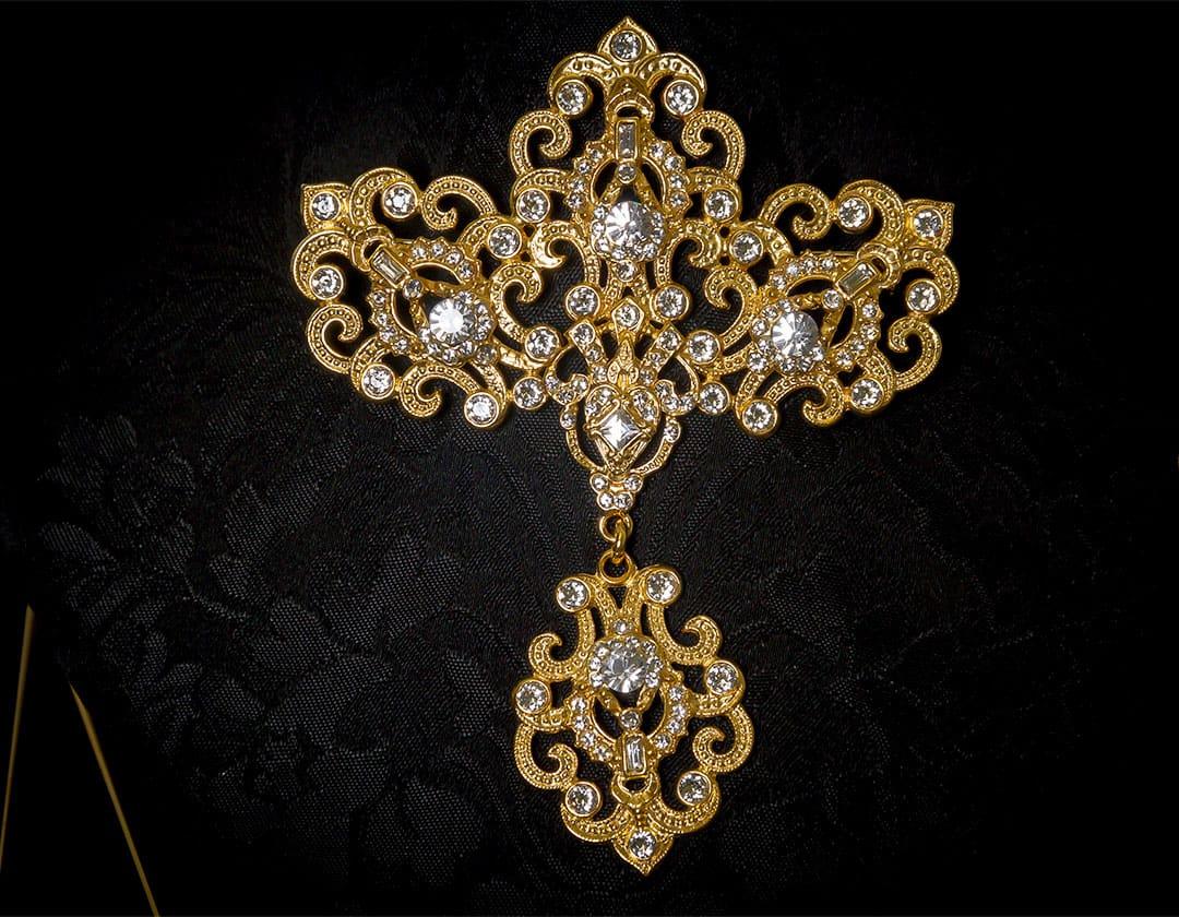 Aderezo del siglo XVIII modelo de a uno en cristal y oro ref. m48
