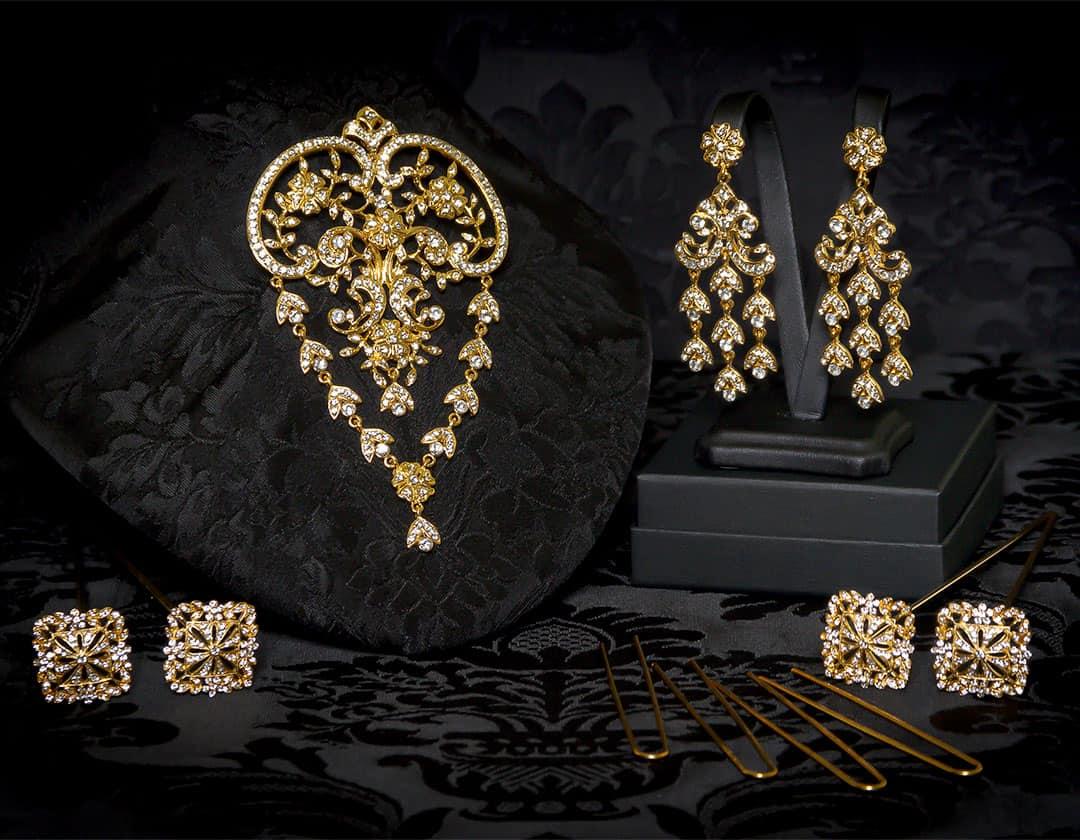 Aderezo del siglo XVIII de ornamentación vegetal en cristal y oro ref. m63